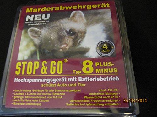 STOP & GO Marderabwehr Typ 8 PLUS-MINUS Hochspannung+Ultraschall+Batterie 07544